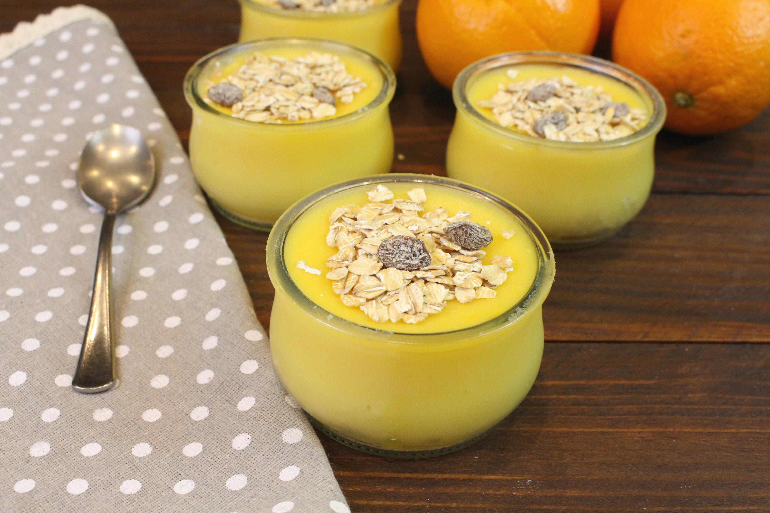 Receta paso a paso de vasitos de crema de naranja sin azúcar