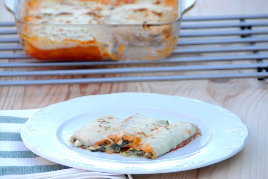 Receta de canelones de ricotta y espinacas