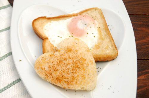 Receta de tostadas corazón con huevo