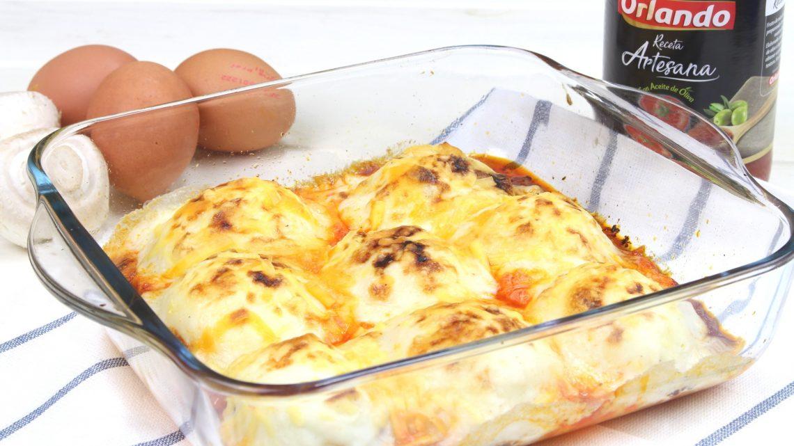 Receta de huevos rellenos de pollo y champiñones