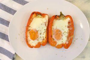 Receta de pimientos rellenos de jamón, queso y huevo
