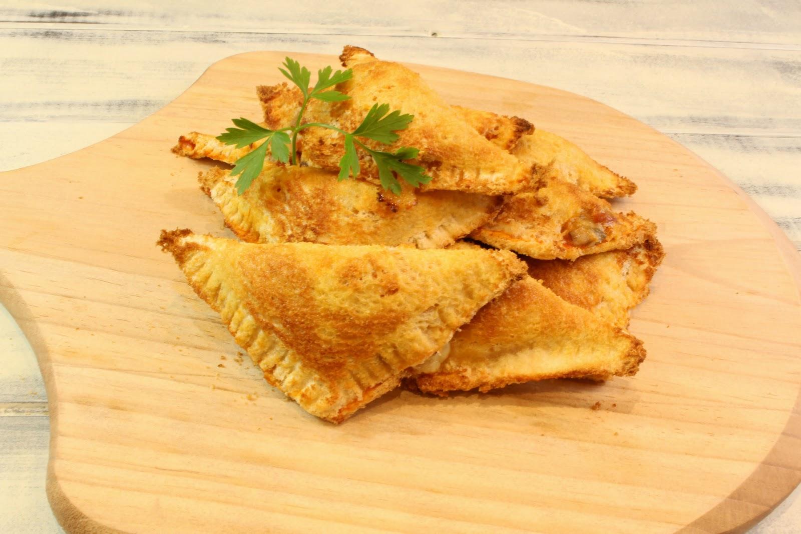 Receta de triángulos pizza de pan de molde