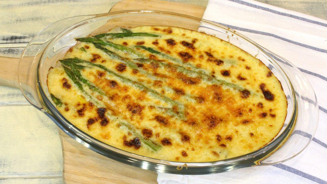 Receta de espárragos gratinados con salsa de queso y mostaza en Thermomix