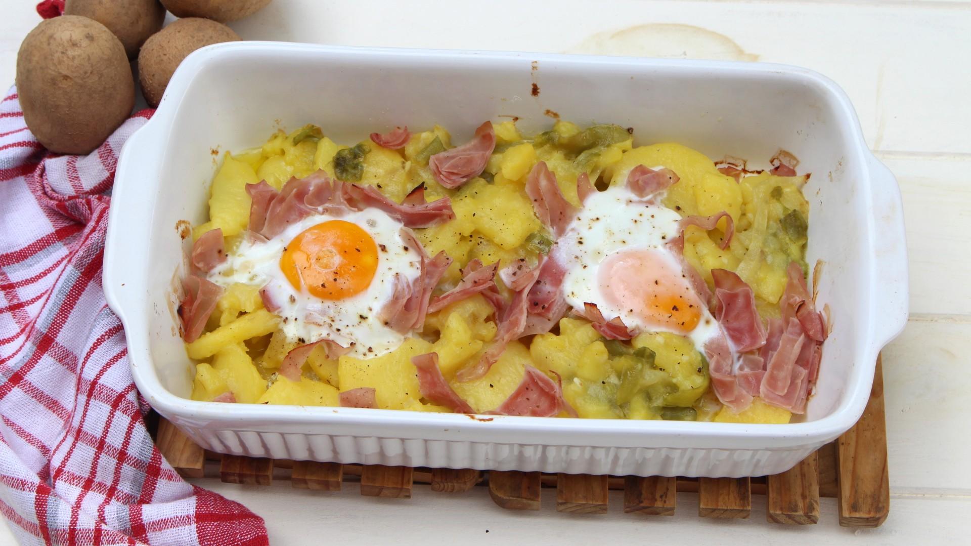 Patatas A Lo Pobre Con Jamón York Y Huevo En Thermomix