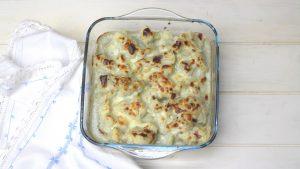 Receta de coliflor con salsa de queso azul en Thermomix