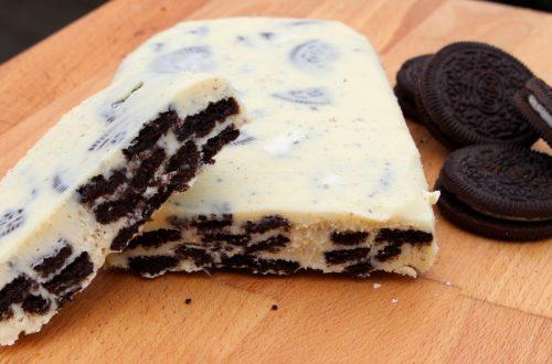 Receta de turrón de chocolate blanco y Oreo con Thermomix