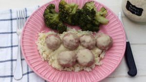 Menú en Thermomix: albóndigas en salsa con arroz y verduras al vapor