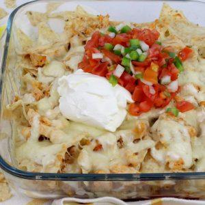 Receta de nachos con pollo al horno