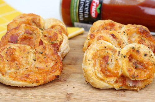 Palmeritas de hojaldre sabor pizza