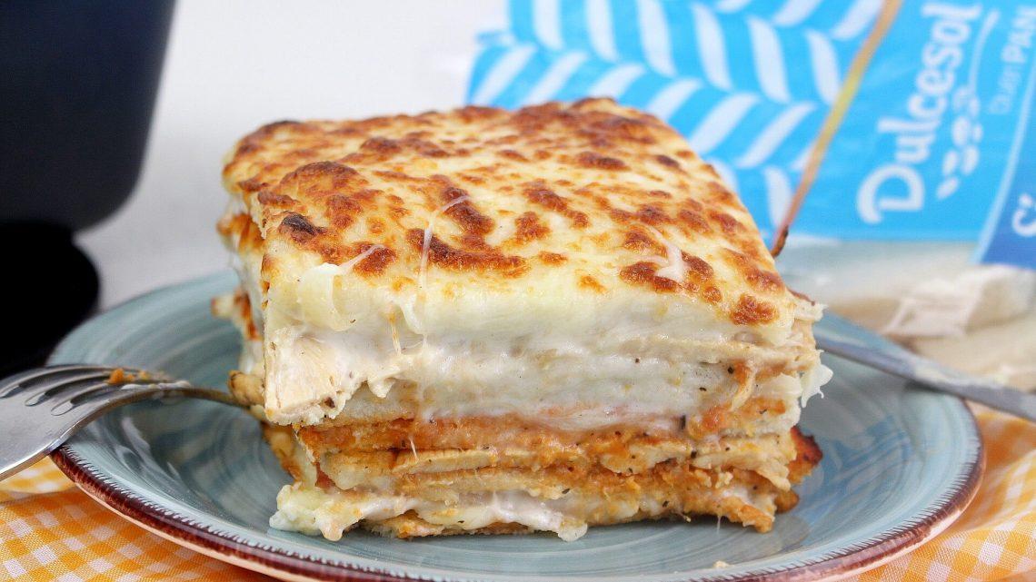 Receta de pastel de pollo y bacon con pan de molde